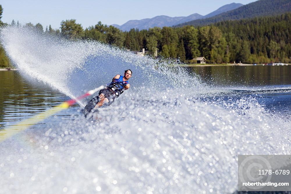 Man waterskiing, USA, Montana,Whitefish, Whitefish Lake