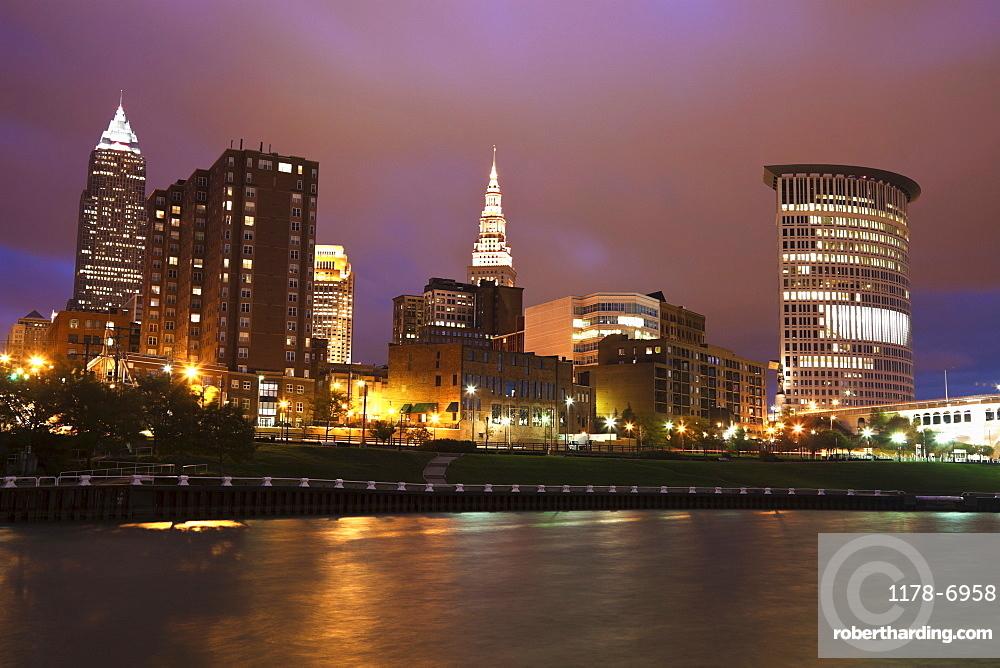 City skyline at night, Cleveland, Ohio