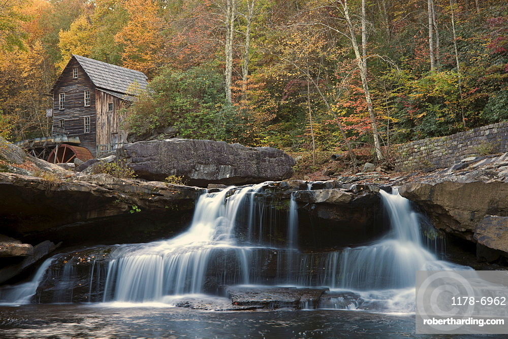 Mill on creek in forest, Babcock State Park, West Virginia