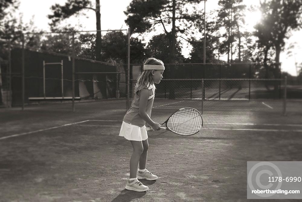 Girl playing tennis, Texarkana, AR