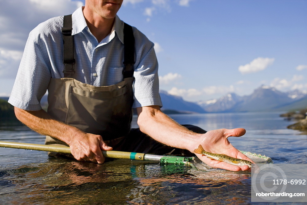 Man holding juvenile western cutthroat trout, Lake McDonald, Glacier National Park, Montana, USA