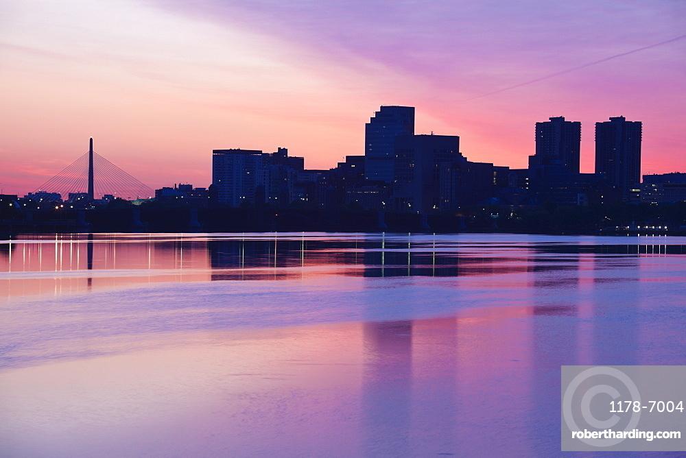 Skyline at sunrise, USA, Massachusetts, Boston,