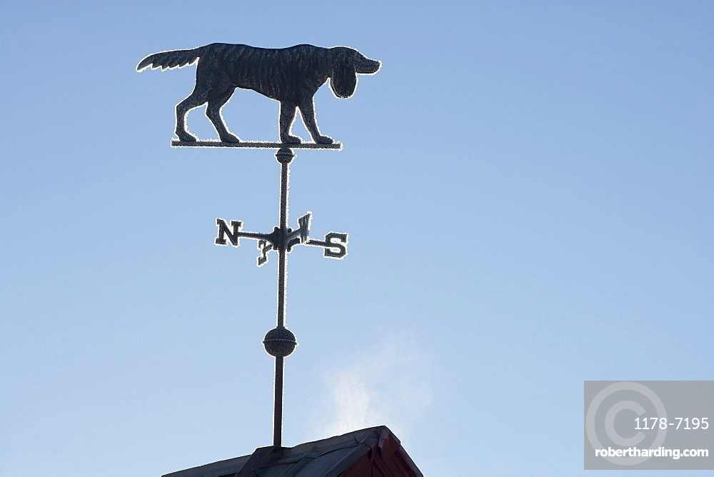 Old weather vane against blue sky