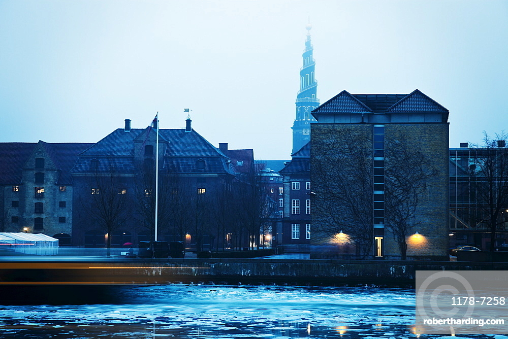 Frozen canal with Church of Our Saviour in background