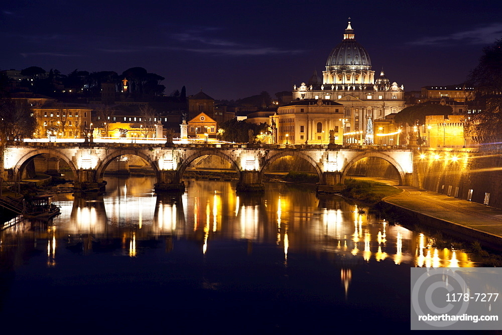 View over Tiber River towards Vatican at twilight