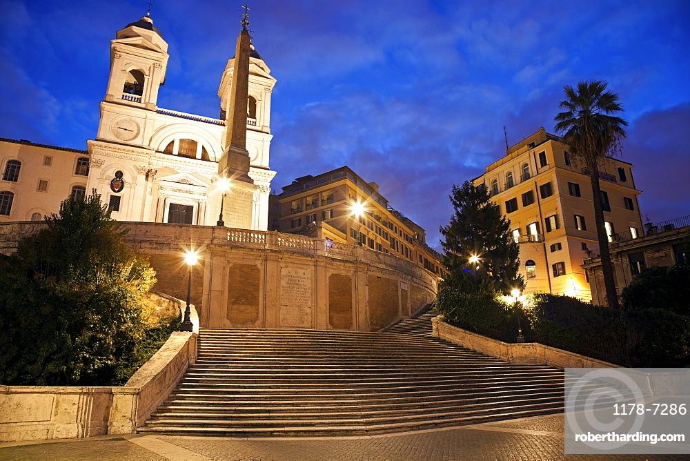 Spanish Steps and Trinita dei Monti Church in early morning