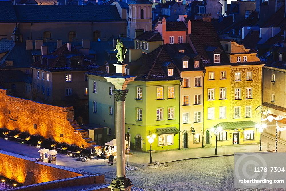 Castle Square, Sigismund's Column at night
