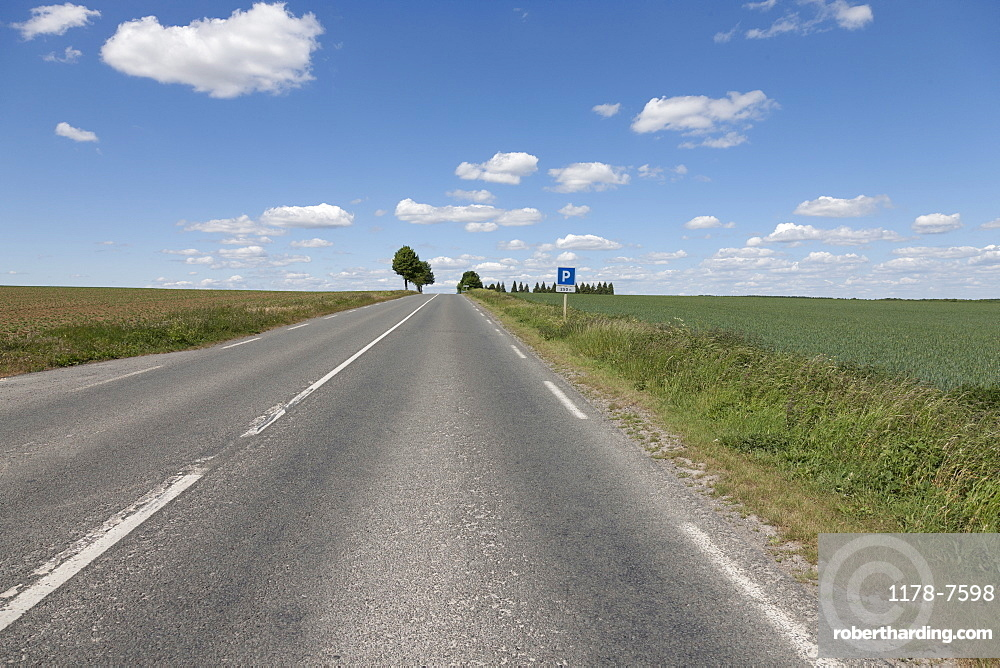 France, Picardy, Somme, Peronne, Rural highway
