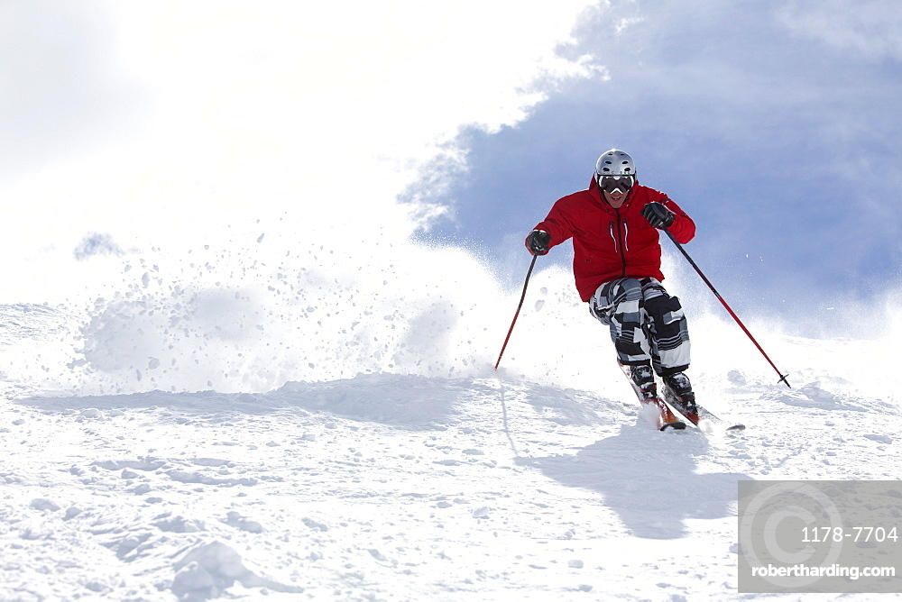 USA, Colorado, Telluride, Skier on fresh powder snow