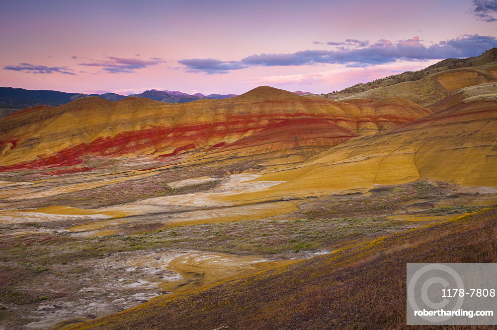 USA, Oregon, Mitchell, Painted Hills during sunset