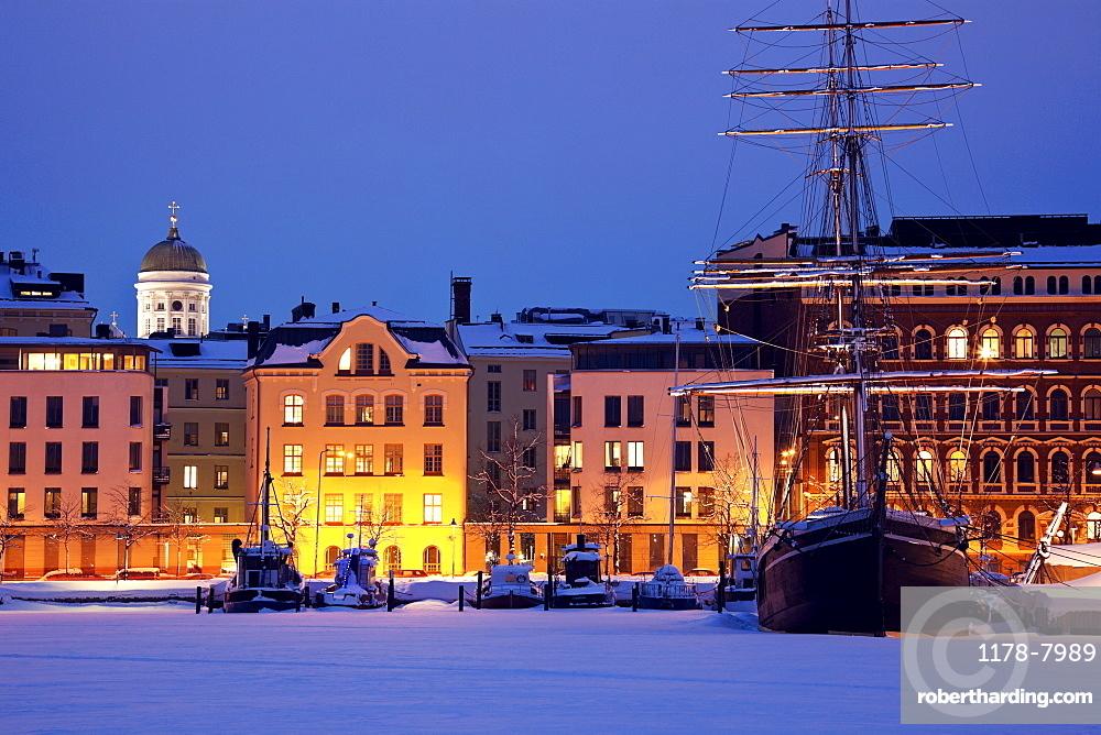 Finland, Helsinki, Ships moored in marina