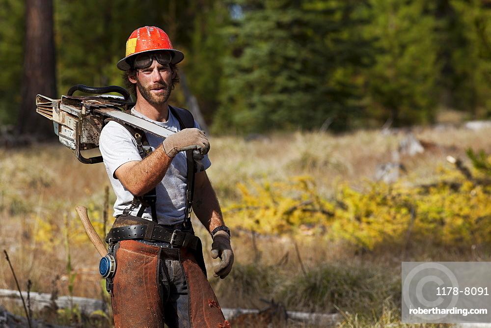 USA, Montana, Lakeside, portrait of lumberjack