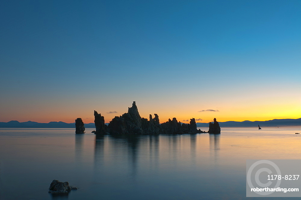 USA, California, Silhouette of Tuffa at sunset