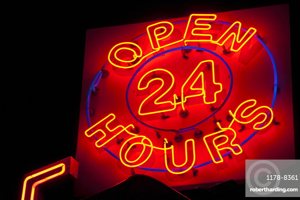 Illuminated open 24 hours sign
