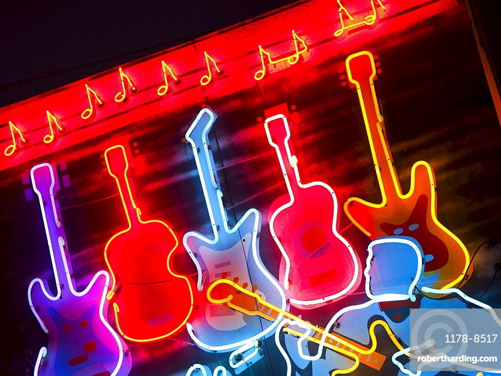 Illuminated guitars on Beale Street in Memphis