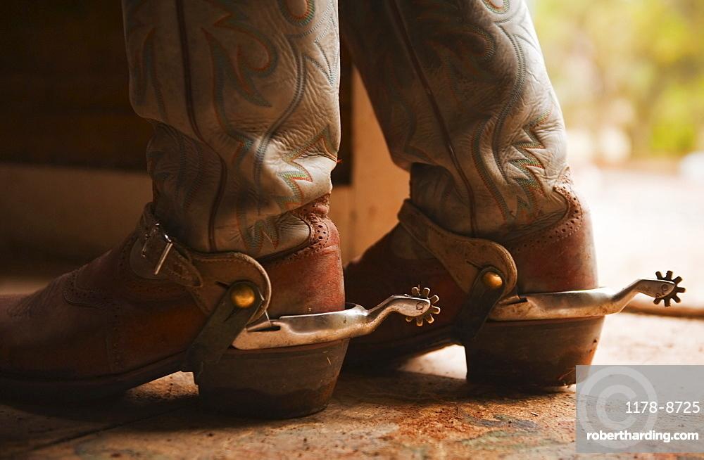 Spurs on cowboy boots