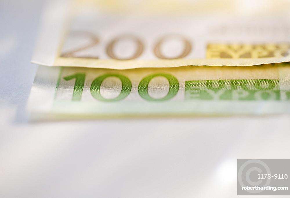 Close up of paper euros