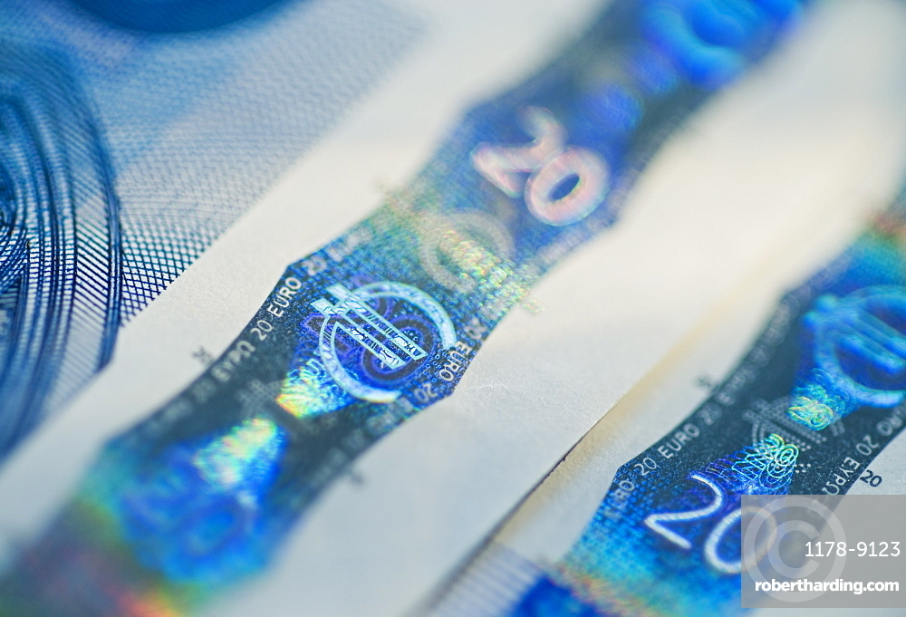 Close up of euro note holograph