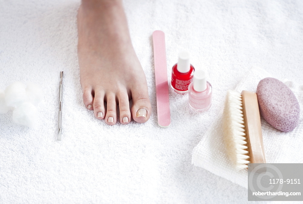 Close-up of woman's foot having pedicure