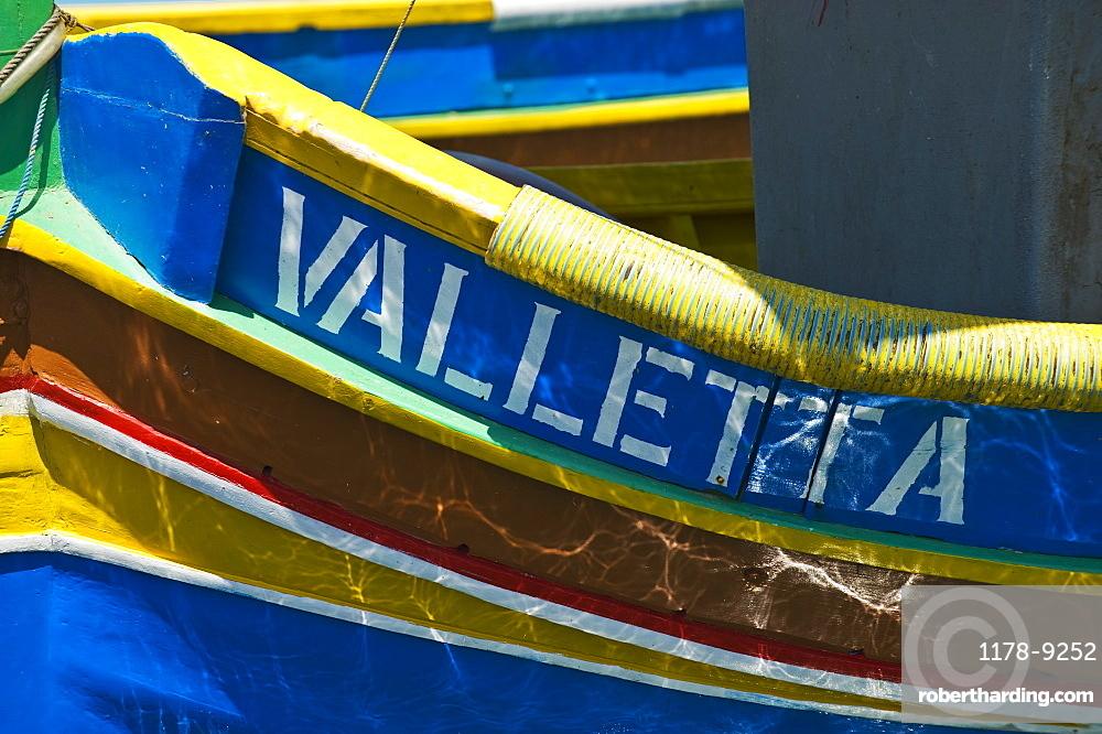 Close up of Luzzu fishing boat