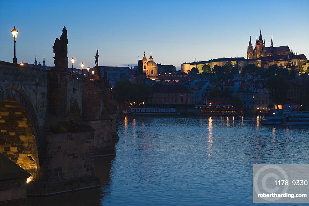 River and city at night