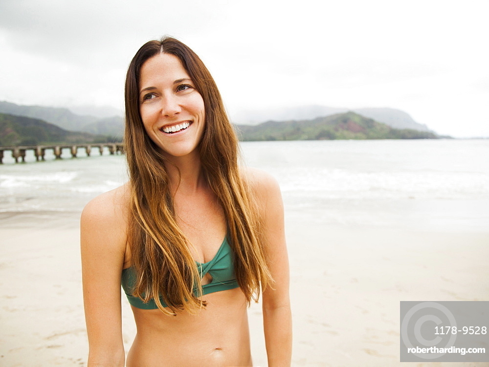 Portrait of young woman in swimsuit, Kauai, Hawaii