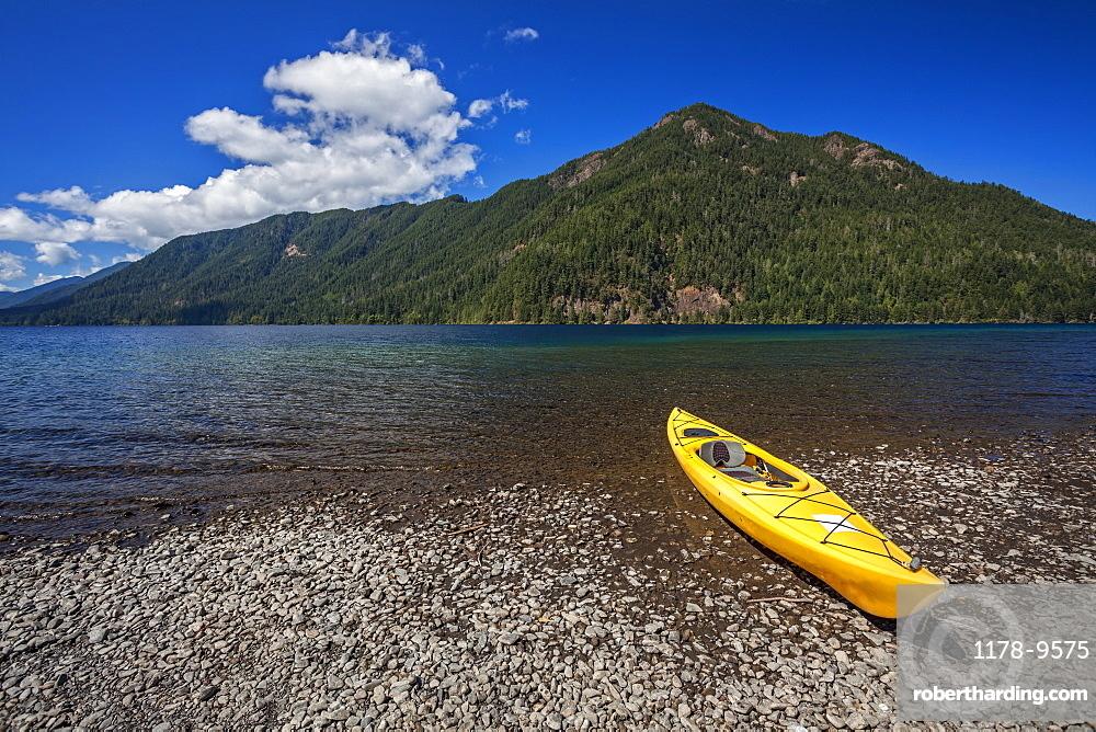 Yellow kayak on Lake Crescent, Olympic National Park, Washington