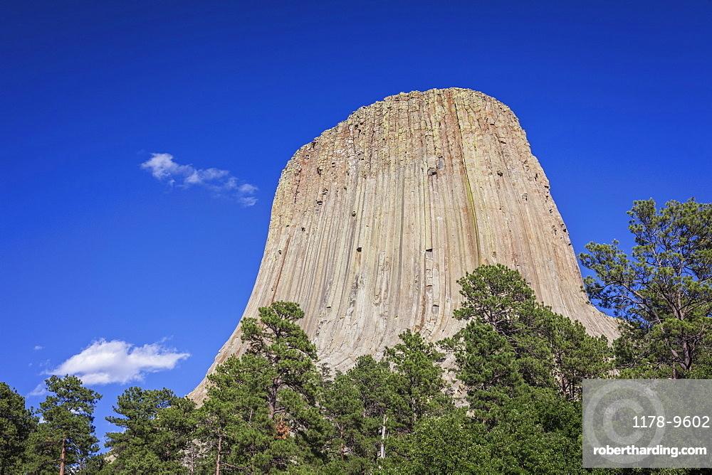 Devil's Tower National Monument against blue sky, Devil's Tower National Monument, Wyoming