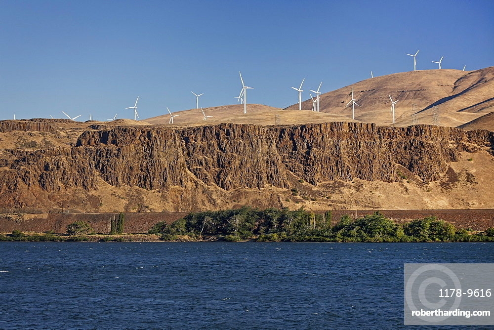Wind turbines on cliff, Columbia River, Washington State side of the Columbia River