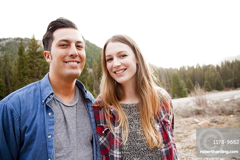 Portrait of young couple in non-urban scene, Salt Lake City, Utah