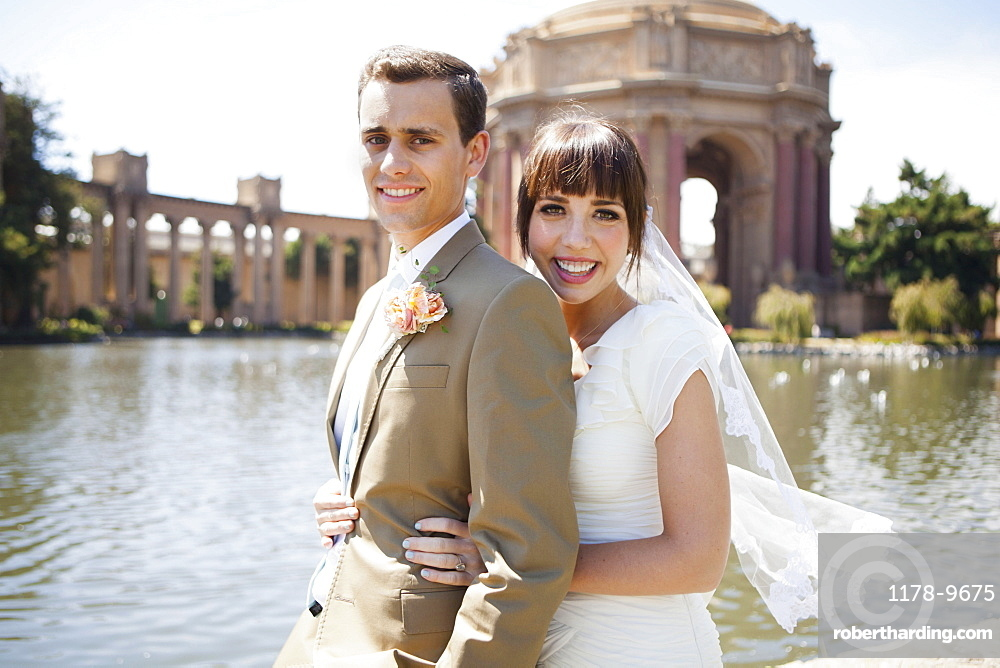 Portrait of young bride and groom, San Francisco, California