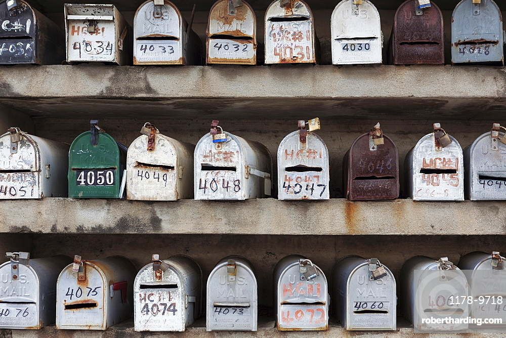 Rows of Mailboxes, town of El Nego, Puerto Rico