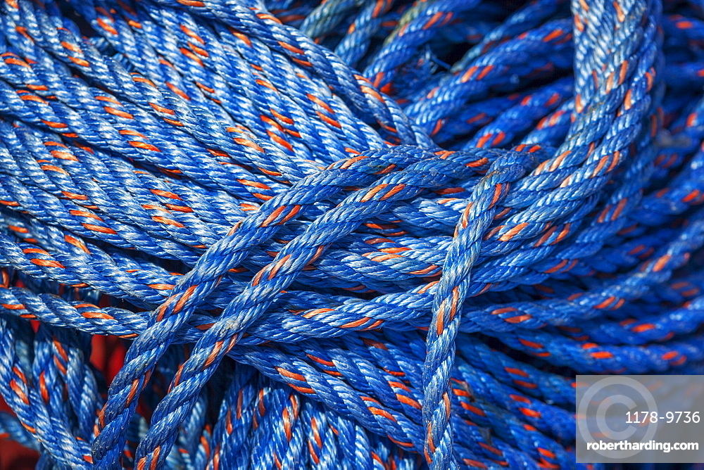 A bundle of blue nylon rope, Charleston Marina, OR