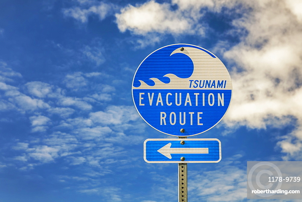 Evacuation route sign, Bandon Beach, Oregon