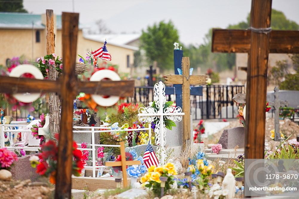 USA, New Mexico, Taos, Ranchos de Taos, crosses on cemetery, USA, New Mexico, Taos