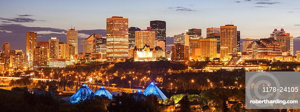 Illuminated cityscape at dusk, Alberta, Canada