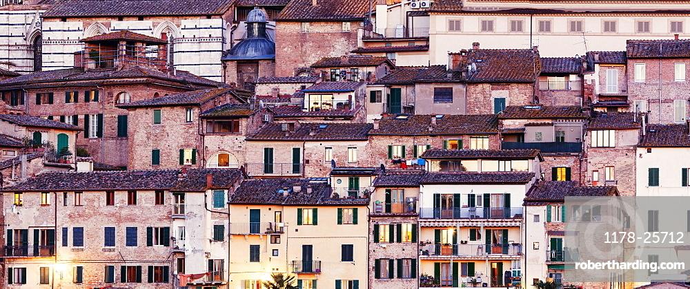 Italy, Tuscany, Siena, Urban scene with old houses