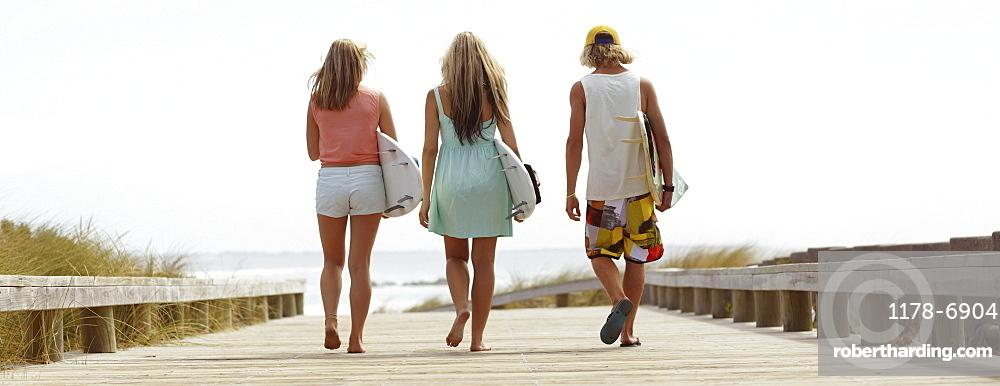 Rear view of people walking towards beach
