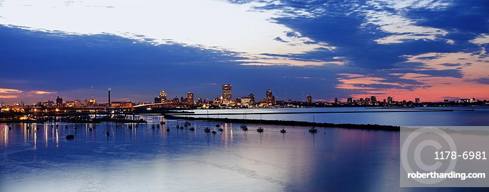 Milwaukee at sunset - panoramic view.