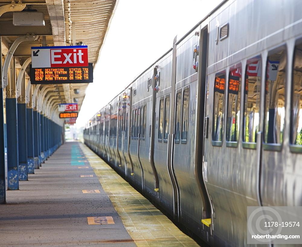 Commuter train parked at station platform