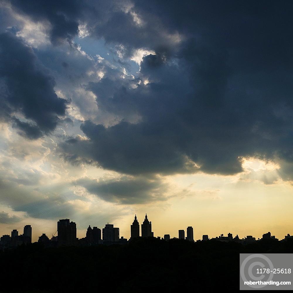 West Side of Manhattan, Silhouette of urban skyline at sunset