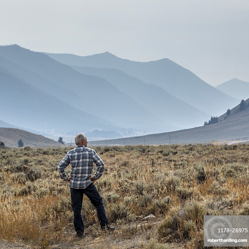 Senior man standing in field by mountains in Sun Valley, Idaho, USA