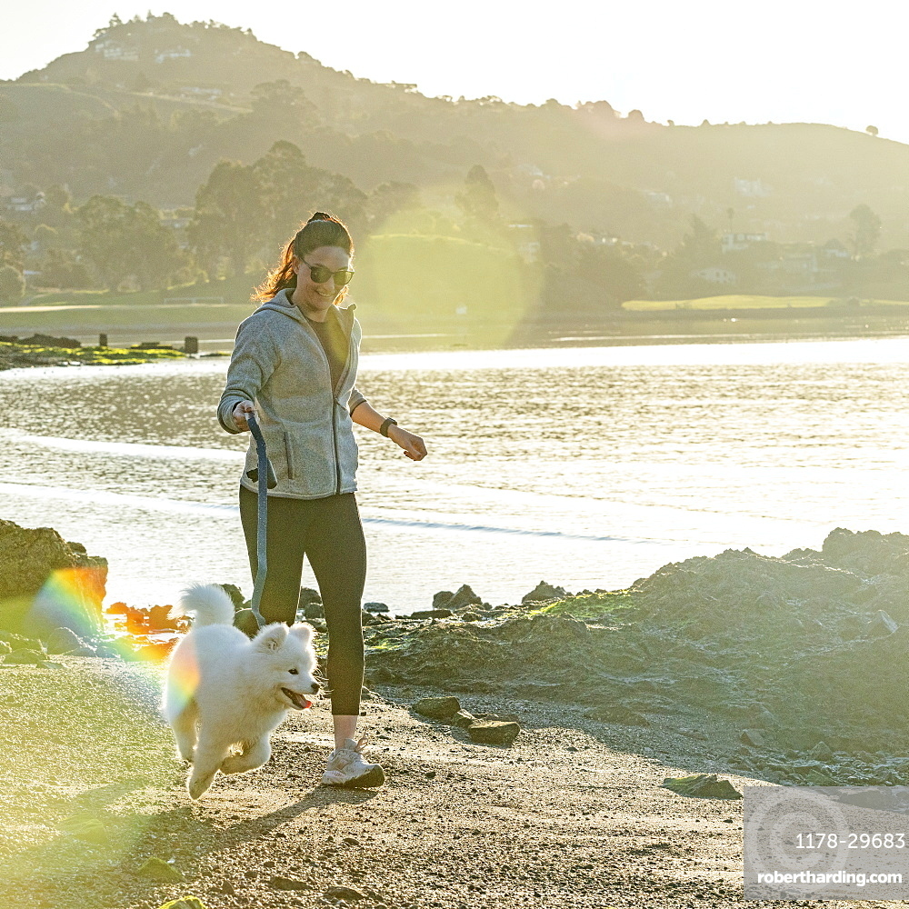USA, California, San Francisco, Woman with Samoyed puppy running on beach