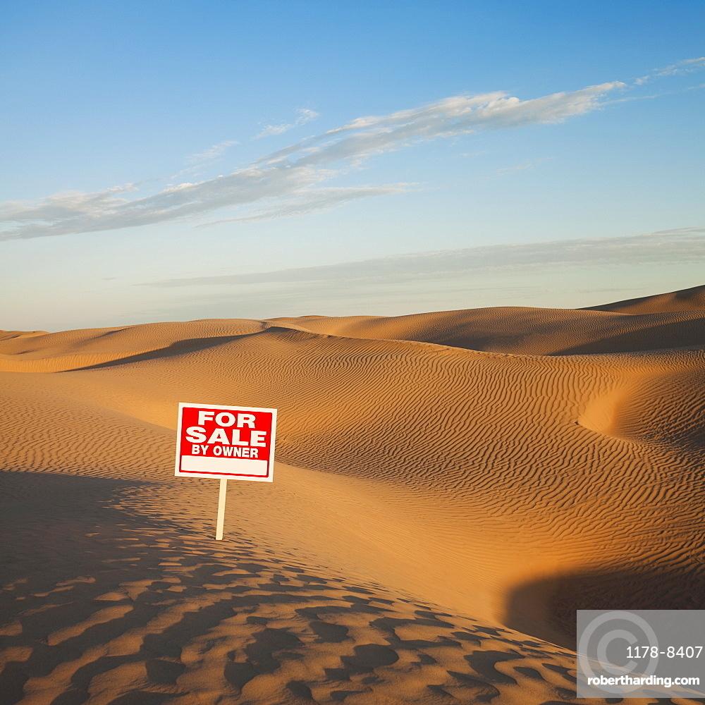 For sale sign in desert