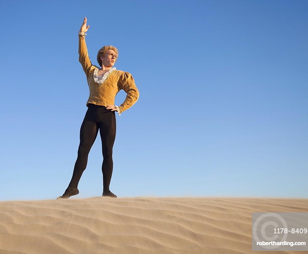 Ballet dancer in desert