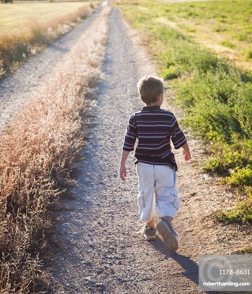 Young boy walking on rural path