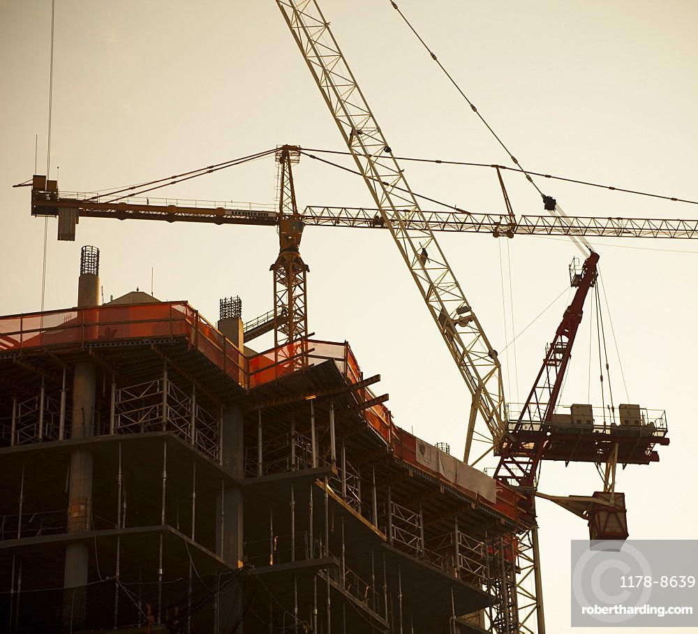 Cranes working