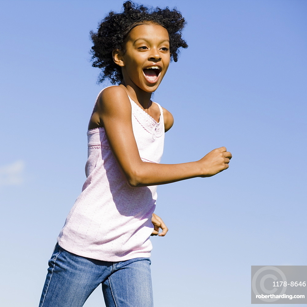 Young girl running