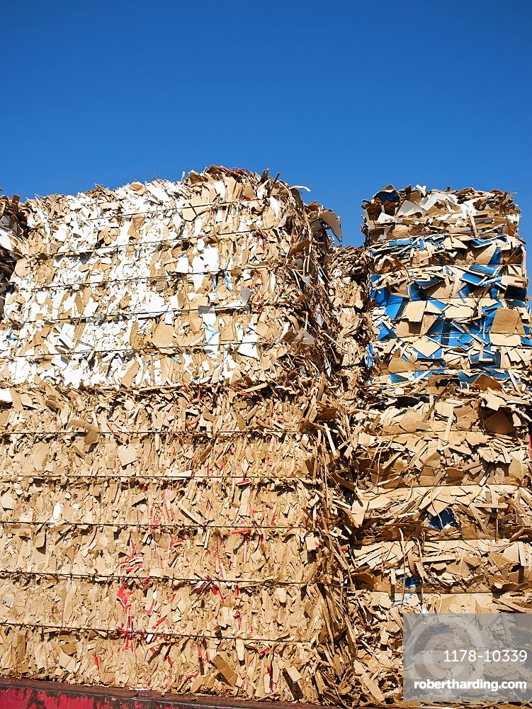 Stacks of paper for recycling