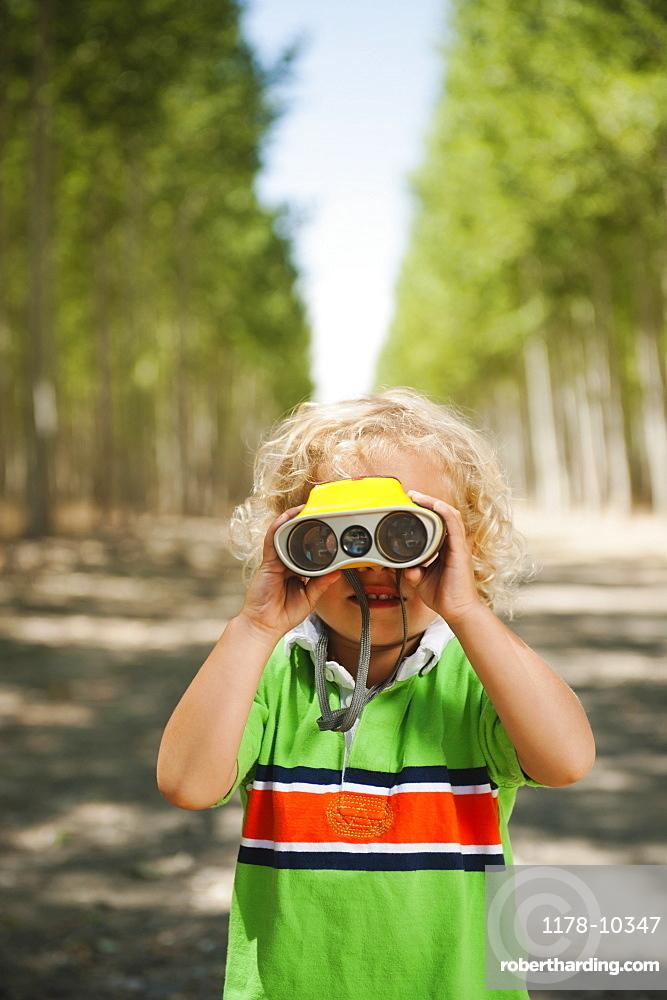 Boy (2-3) looking through binoculars in tree farm